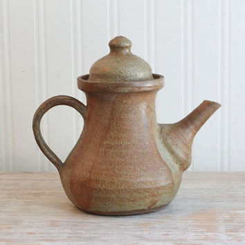 Rustic Teapot, Pottery Teapot, Ceramic Teapot, Vintage Teapot, Stoneware, Earthy, Brown, Glazed, Farmhouse Decor, Primtive, Country Charm