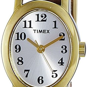 Timex Women's T2M567 Cavatina Brass Watch with Brown Leather Strap