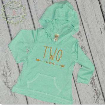 Girl Second Birthday Shirt 2nd Birthday Shirts for Girls Two Year Old Girl Birthday Outfit Hoodie 2nd Birthday Girl Outfit Green Pink 133