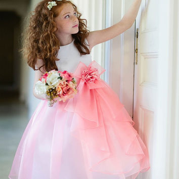 2016 Hot Scoop Neckline Knee Length Ball Gown Flower Girl Dresses Sleeveless Zipper Light Pink Organza Flower Girl Dress Bow