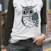 Grey Contrast Long Sleeve Owl Print T-Shirt