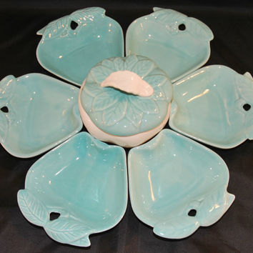 Vintage Hoenig Of California 734 Apple Shaped Serving Set (c.1960's) Complete Lazy Susan Set, Mid Century California Pottery, Turquoise Blue