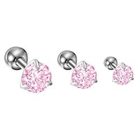 BodyJ4You Tragus Earring Stud Crystal Pink Gem Cartilage Earring Set of 3 Pieces 16G