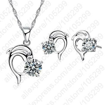 2017 Trendy Dolphine Design Pendant 925 Sterling Silver Fine Jewelry Necklace Earring For Women Wedding Set Gifts
