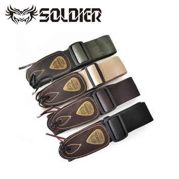 High Quality Soldier Cotton Leather Head Guitar Strap Electric Guitar Strap Bass strap Comfortable Cotton with Leather Ends