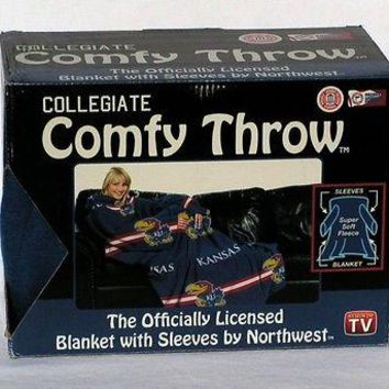 Kansas KU Jayhawks Comfy Throw Fleece Blanket w/Sleeves FREE US SHIPPING