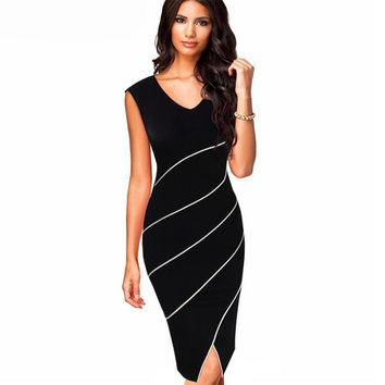 MAYFULL NEW HIGH QUALITY women vintage sleeveless V-neck empire knee-length striped dress evening party dress dresses brand