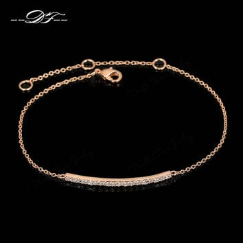 OL Style CZ Diamond Micro Pave Fashion Bracelets & Bangles 18K Rose Gold Plated/Silver Tone Crystal Jewelry For Women DFH126