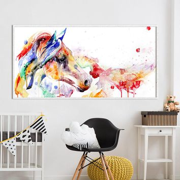 HDARTISAN Wall Art Canvas Animal Painting Watercolor Picture Horse Printed For Living Room Home Decor No Frame