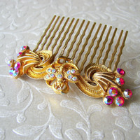 Jeweled Dragonfly Hair Comb Red Aurora Borealis Rhinestone Hairpiece Vintage Jewelry Headpiece