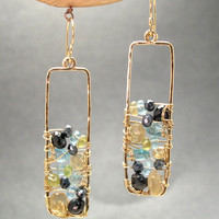 Bohemian 40 Black Spinel, Vessonite, and Blue Tourmaline Earrings