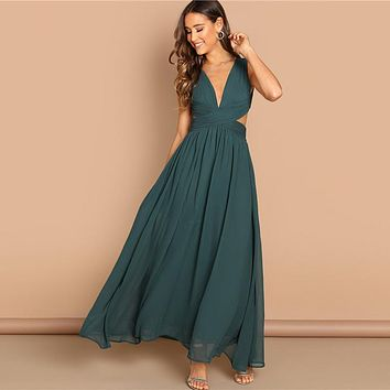 Green Plunge Neck Crisscross Waist Ball Dress Elegant Plain Fit and Flare Dress Women Modern Lady Party Dresses