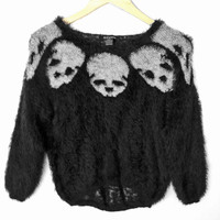 Fuzzy Furry Hairy Skull Goth Punk Hi-Lo Halloween Ugly Sweater