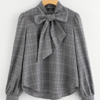 Bow Tie Neck Plaid Blouse -SheIn(Sheinside)
