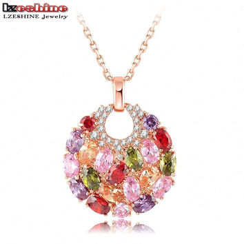 18K Rose Gold Plated Necklace with Multicolor Gems