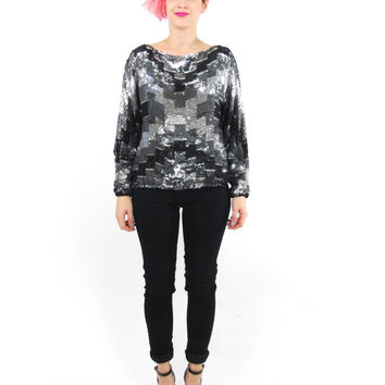 70s 80s Art Deco Sequin Blouse Disco Glam Silk Sequin Top Indian Geometric Silver Black Sequins Cocktail Party Evening Long Sleeve Top (S/M)