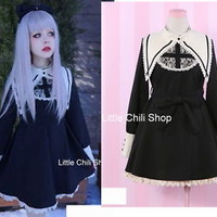 Fashion Princess Cute Kawaii Lolita Slim Long Sleeve Lace Fur dress Onepiece