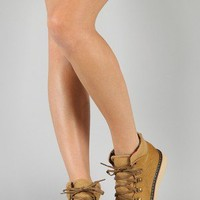 SK0182JX Round Toe Lace Up Ankle Bootie