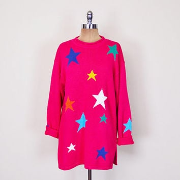 Bright Hot Pink Star Sweater Star Print Sweater Novelty Print Jumper 80s Oversize Sweater Tunic Slouchy Sweater 90s 80s Sweater Women S M L