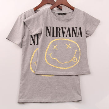 2 Colors 2016 Rock Band T Shirt Women NIRVANA printed Printing T-shirt Women Tops Tee Shirt Femme Plus Size XXS-XL Woman Cloth