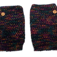 Women's Black Multi-color Mix Popcorn Pattern Crochet Knit Button Boot Cuffs, Boot Toppers, NEW COLORS, gift