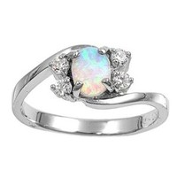 Swirl Tension Oval White Simulated Opal Ring Sterling Silver 925 Size 7