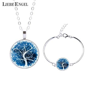 LIEBE ENGEL Life Tree Statement Necklace Bangles Bracelets Jewelry Sets Vintage Silver Color Jewelry  Women Men Christmas Gift