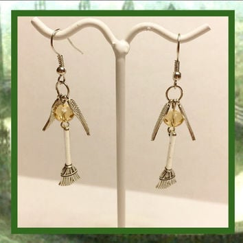 Free Shipping US only | Quidditch earrings | broomstick | golden snitch