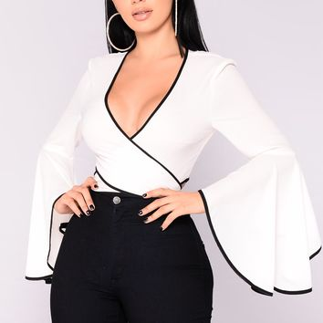 Visions Of Love Bell Sleeve Top - White