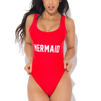 Mermaid One Piece Swimsuit RED