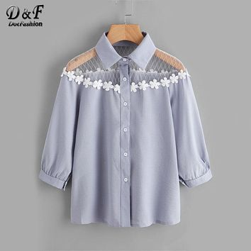 Dotfashion Flower Lace Insert Shirt Blue Lapel Equipment Button Women Top And Blouse 3/4 Sleeve Cute Blouse
