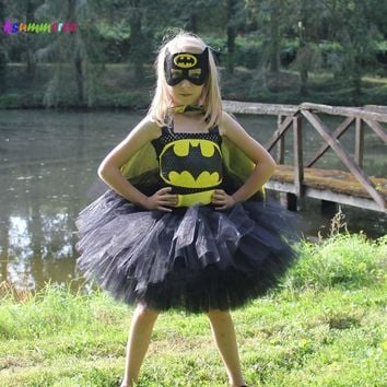 Batman Dark Knight gift Christmas Batman Tutu Dress with Mask Children Kids Superhero Costume Girls Birthday Party Dress Halloween Christmas Clothing AT_71_6