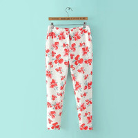 Summer Women's Fashion Floral Print Casual Slim Pencil Pants Skinny Pants [4918012932]