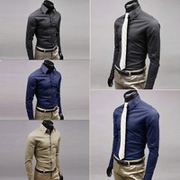New Luxury Fashion Slim Fit Men's Long-Sleeve Lapel Casual Dress Shirt  LO