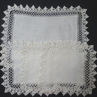 4 Piece White Linen Doily Set with Crocheted Lace Trim in 3 Sizes - Circa 1960s - Great Upcycle Supply