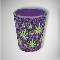 Purple Glitter Pot Leaf Shot Glass - Spencer's