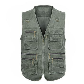 Trendy Free Shipping 2018 New Men's Large Size 5XL Jacket Denim Vest Casual Multi-pocket High Quality Waistcoat photography Plus size AT_94_13