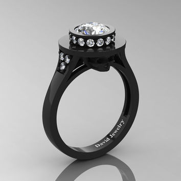 Top Hat Skull 14K Black Gold 1.0 Ct Rissian Ice CZ White Diamond Solitaire Engagement Ring R1025-14KBGDRICZ