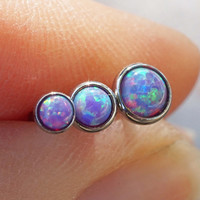 Purple Opal Triple Helix Cartilage Earring Tragus