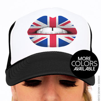 British Flag Lipstick - Trucker Hat Snapback Cap - UK London Lipstick - Union Jack - Red White and Blue - Black and White Hats