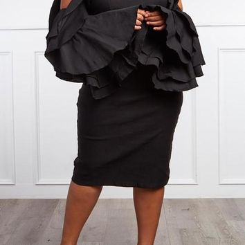 Mock Neck Bell Sleeve Dress - Plus Size (More Colors)