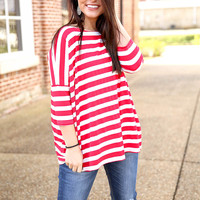 Piko Striped Top - Red