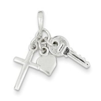 Cross with Heart and Key Charm in Sterling Silver