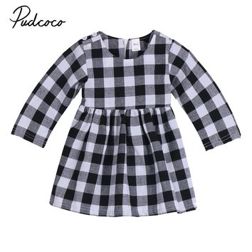 Cotton Newborn Baby Girls Dress Toddler Kids Plaid Long sleeves Dress Party Princess Wedding Tutu dresses Spring Autumn 0-2T