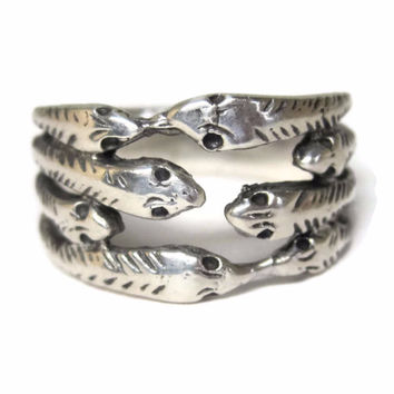 Vintage Sterling Snake Band Ring Size 6