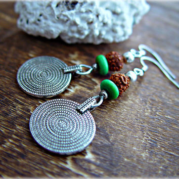 Boho Coin Earrings / Boho Gypsy Earrings / Rudraksha Earrings / Yoga Rudraksha Jewelry / Tribal Earrings / Ethnic Coin Earrings