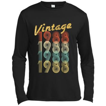 1988 Vintage Funny 30th Birthday Gift  For Him or Her Long Sleeve Moisture Absorbing Shirt