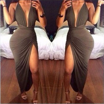 Fashion Women Summer Sexy Sleeveless Casual  V-neck Ankle-length Dress = 1783182468