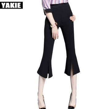 Flare pants capri women high elastic waist formal OL work office calf length  Casual pants female trousers pantalon femme mujer