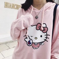 Champion Hello Kitty Women Fashion Print Top Sweater Hoodie Shorts Set Two Piece